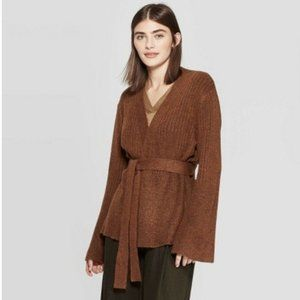 Open Front Belted Cardigan Prologue Brown XXL NEW
